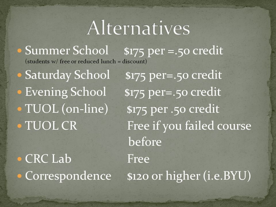 Summer School $175 per =.50 credit (students w/ free or reduced lunch = discount) Saturday School $175 per=.50 credit Evening School $175 per=.50 credit TUOL (on-line) $175 per.50 credit TUOL CRFree if you failed course before CRC LabFree Correspondence$120 or higher (i.e.BYU)