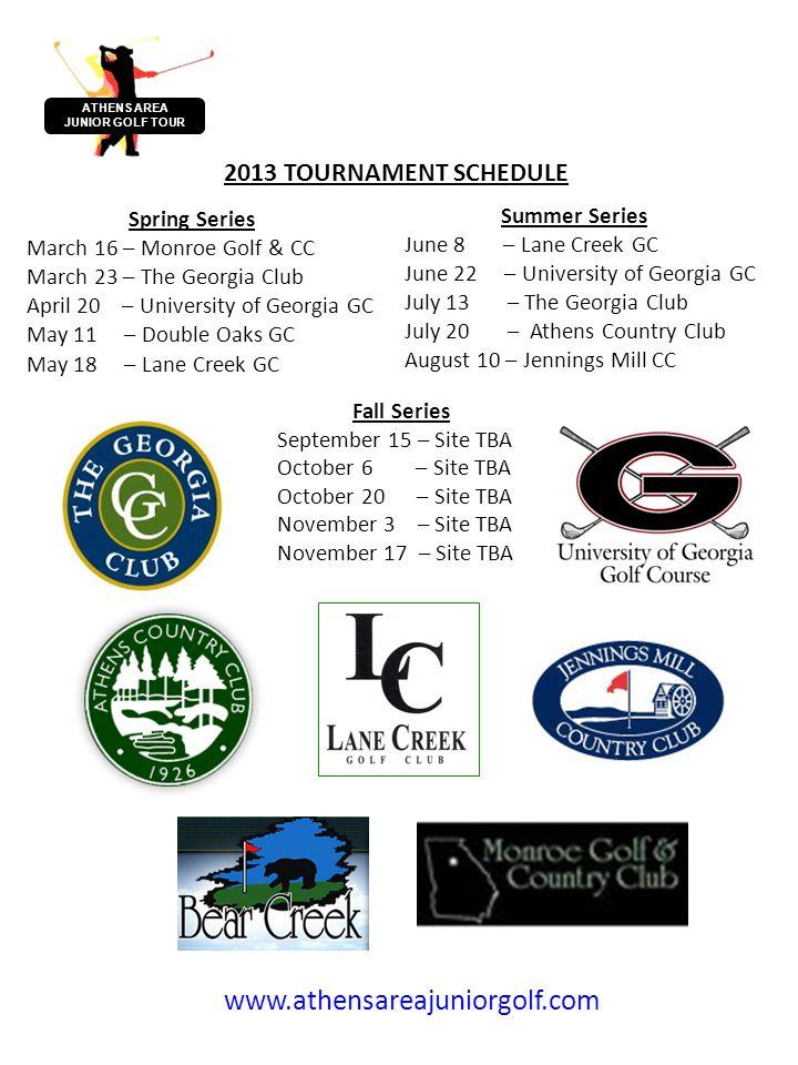 SPONSORSHIP RATE CARD PARTNERSHIP Opportunities Junior Tour Title Sponsor$5,000 Junior Tour Presenting Sponsor$3,000 Photo Sponsor$1,000 Tee Marker Sponsor$1,000 Scoreboard Sponsor$1,000 Point Leaders Sponsor$1,000 Tee Gift Sponsor$1,000 Web Site Sponsor Signage Sponsor ATHENS AREA JUNIOR GOLF TOUR All AAJGT tournaments are professionally run and organized by PGA staff.