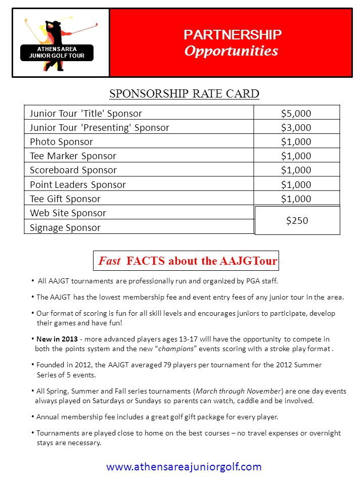 Your company or organization can be the Title Sponsor or Presented By Sponsor for the only junior golf tour in the Athens area.