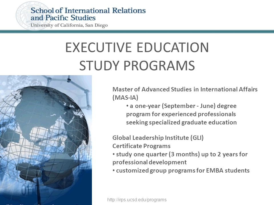 Master of Advanced Studies in International Affairs (MAS-IA) a one-year (September - June) degree program for experienced professionals seeking specia