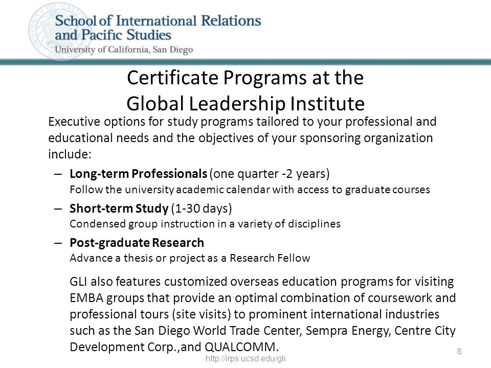 Certificate Programs at the Global Leadership Institute Executive options for study programs tailored to your professional and educational needs and t
