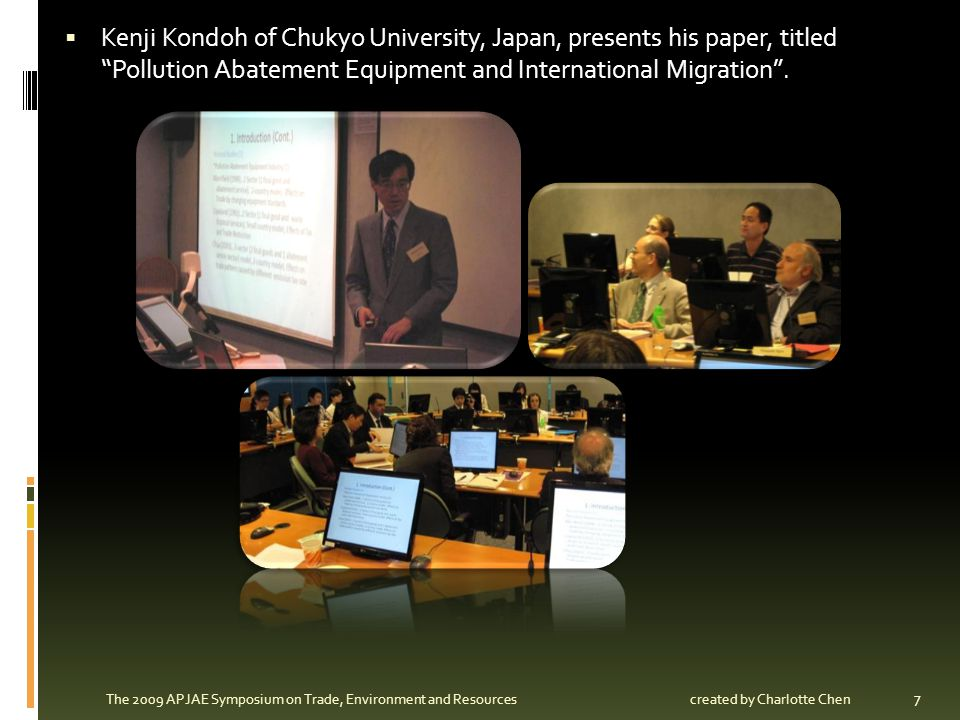 Baomin Dong of University of International Business and Economics, China, presents his paper, titled International Environmental Agreement Formation and Trade.