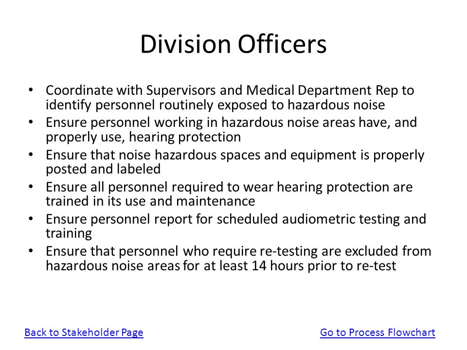Division Officers Coordinate with Supervisors and Medical Department Rep to identify personnel routinely exposed to hazardous noise Ensure personnel w