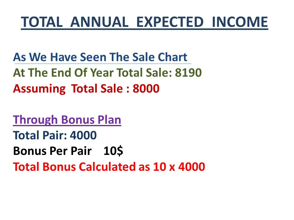 TOTAL ANNUAL EXPECTED INCOME As We Have Seen The Sale Chart At The End Of Year Total Sale: 8190 Assuming Total Sale : 8000 Through Bonus Plan Total Pair: 4000 Bonus Per Pair 10$ Total Bonus Calculated as 10 x 4000