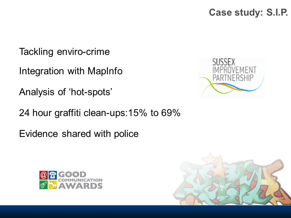 Tackling enviro-crime Integration with MapInfo Analysis of hot-spots 24 hour graffiti clean-ups:15% to 69% Evidence shared with police Case study: S.I.P.