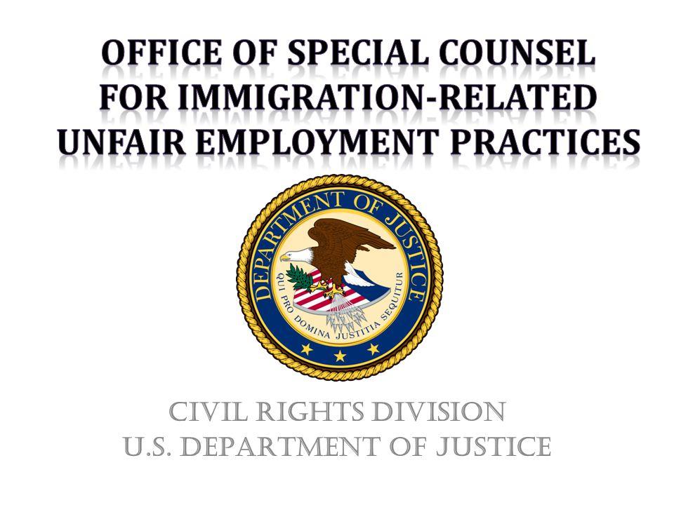 Civil Rights Division U.S. DEPARTMENT of Justice