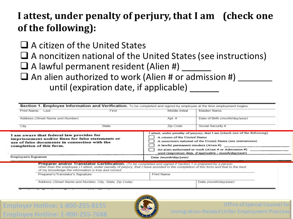 I attest, under penalty of perjury, that I am (check one of the following): Office of Special Counsel for Immigration-Related Unfair Employment Practi