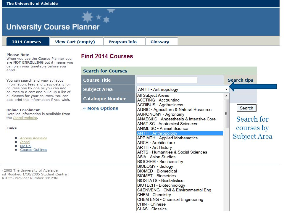 University of Adelaide21 Search for courses by Subject Area