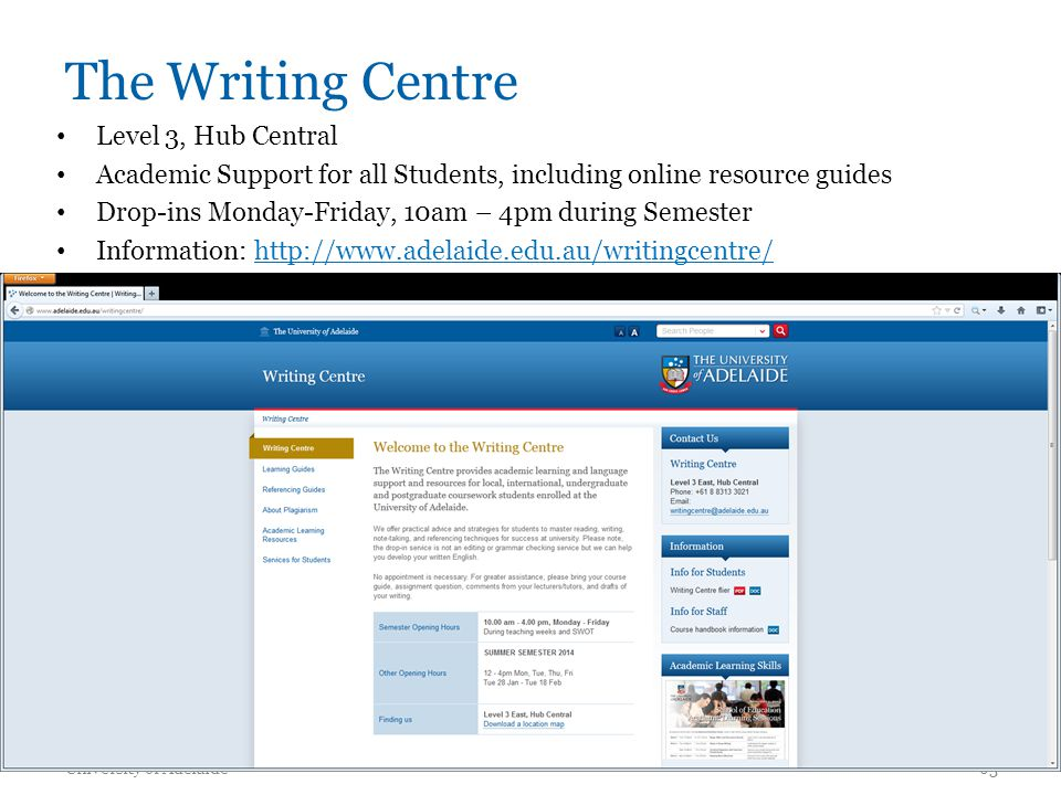 The Writing Centre Level 3, Hub Central Academic Support for all Students, including online resource guides Drop-ins Monday-Friday, 10am – 4pm during