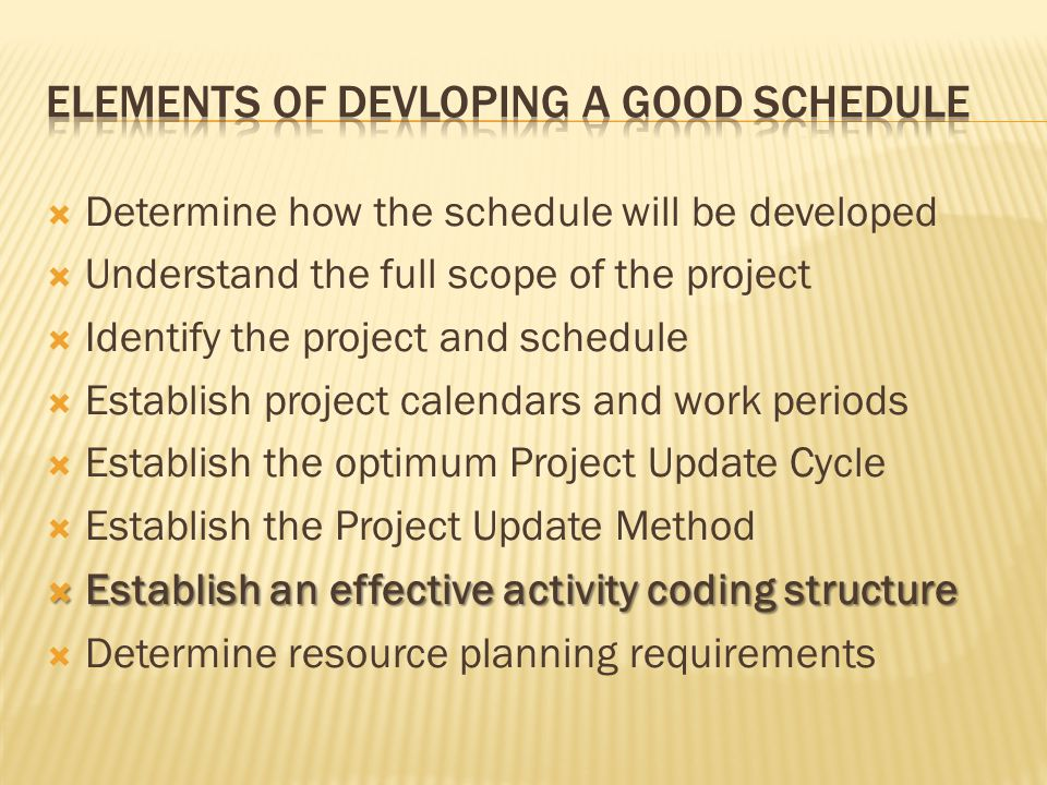 Determine how the schedule will be developed Understand the full scope of the project Identify the project and schedule Establish project calendars an