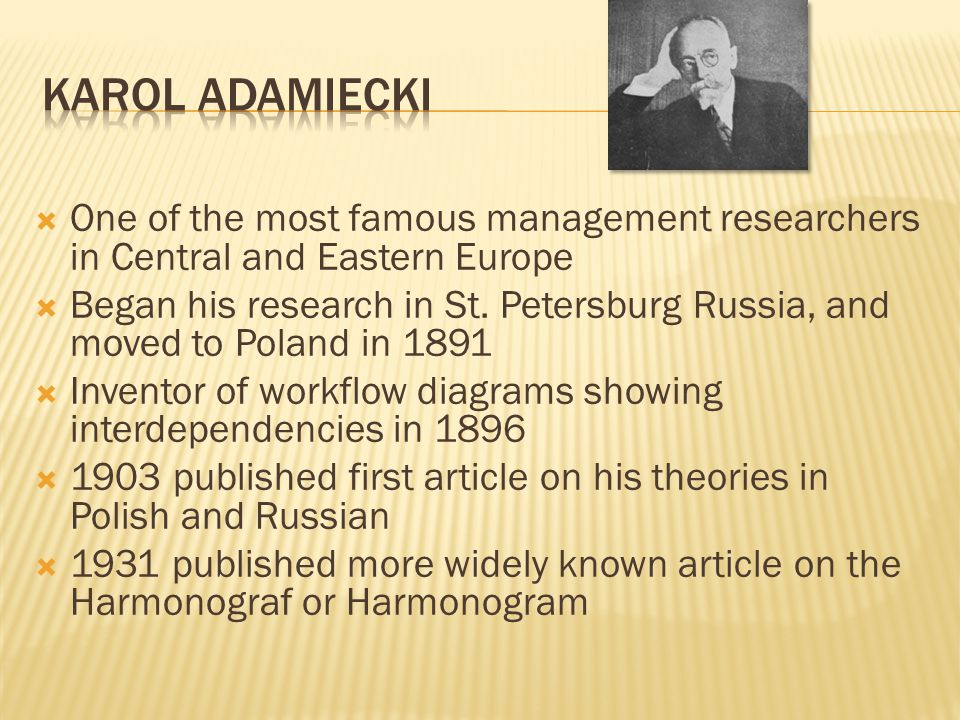 One of the most famous management researchers in Central and Eastern Europe Began his research in St. Petersburg Russia, and moved to Poland in 1891 I