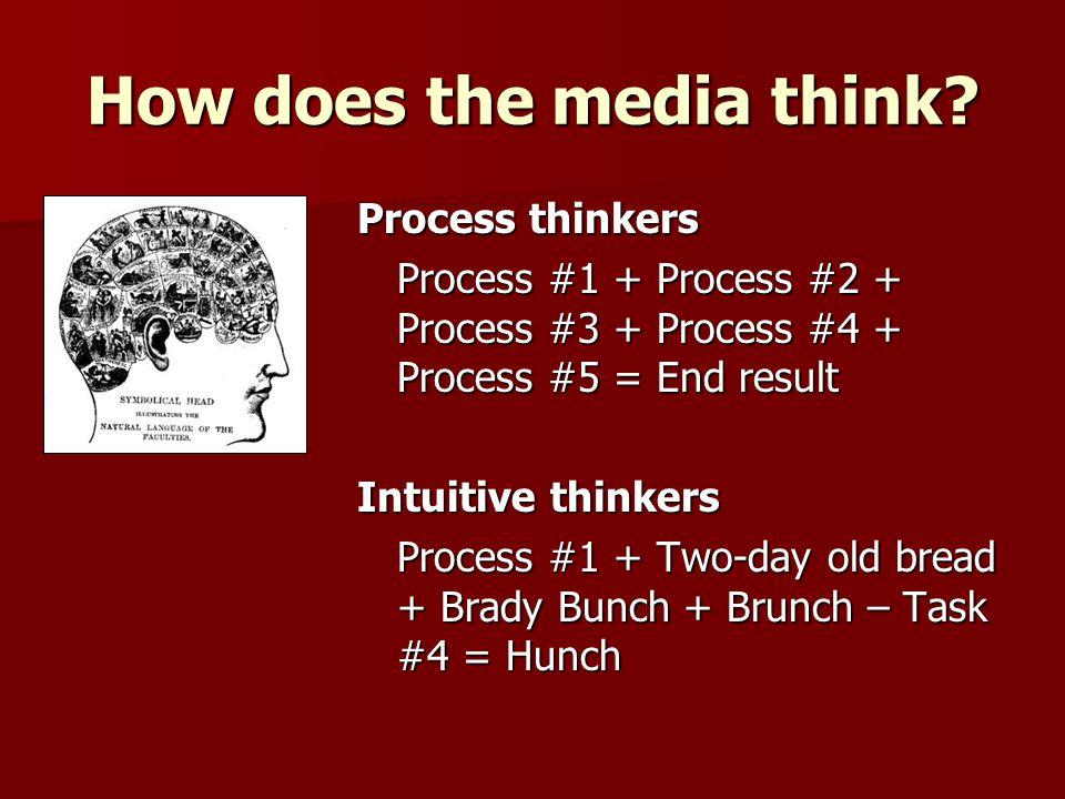 Process thinkers Process #1 + Process #2 + Process #3 + Process #4 + Process #5 = End result Intuitive thinkers Process #1 + Two-day old bread + Brady
