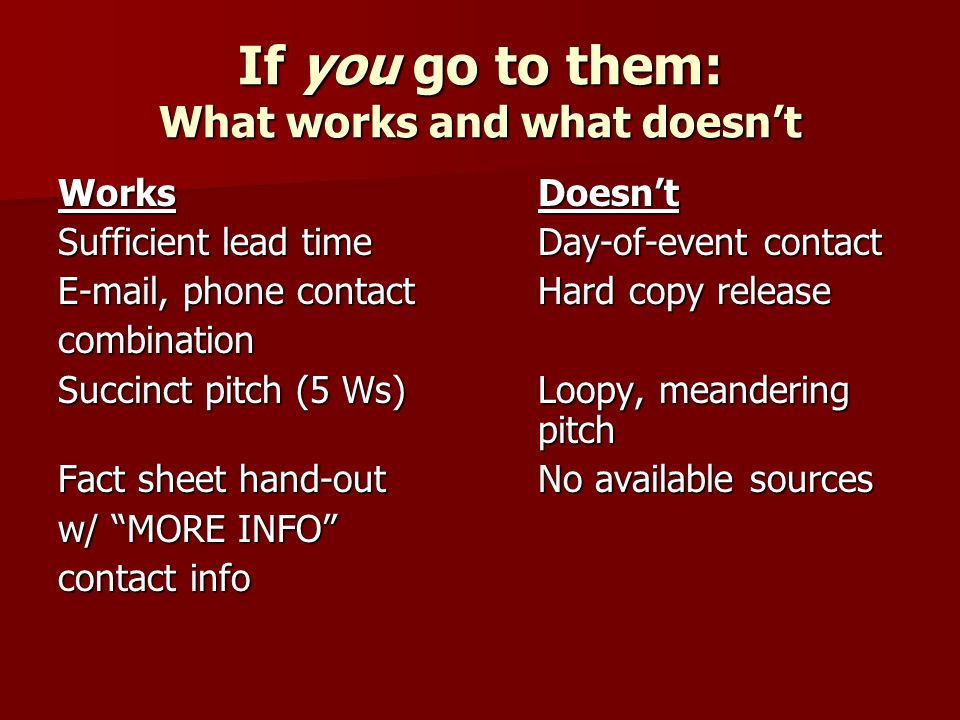 If you go to them: What works and what doesnt WorksDoesnt Sufficient lead timeDay-of-event contact E-mail, phone contact Hard copy release combination