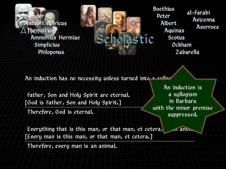 BoethiusPeter Albert Aquinas Scotus Ockham Zabarella al-Farabi Avicenna AverroesClementAlexander Sextus Empiricus Themistius Ammonius Hermiae Simplicius Philoponus Father, Son and Holy Spirit are eternal.