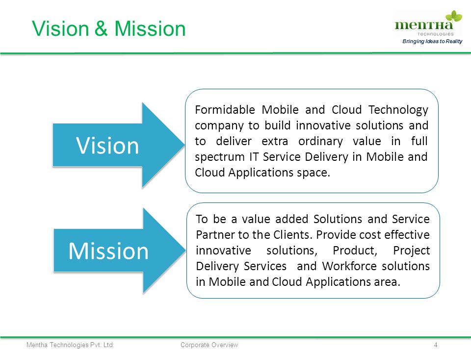 Mentha Technologies Pvt. Ltd.Corporate Overview4 Bringing Ideas to Reality Vision & Mission Vision Mission Formidable Mobile and Cloud Technology comp