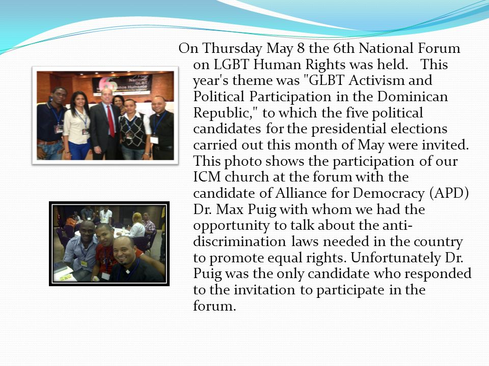 On Thursday May 8 the 6th National Forum on LGBT Human Rights was held. This year's theme was