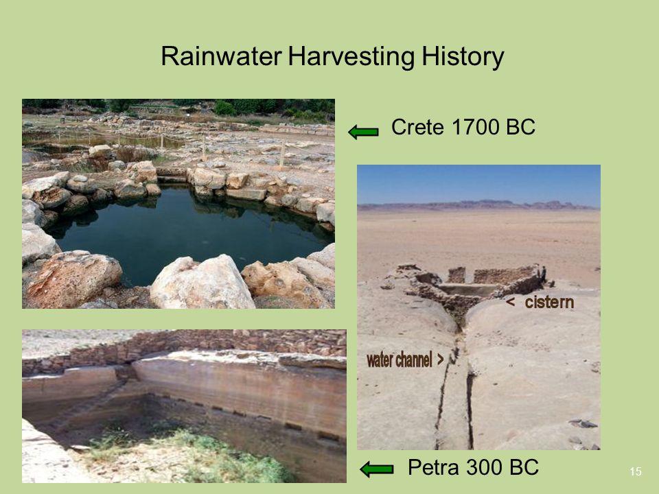 Rainwater Harvesting History 15 Petra 300 BC Crete 1700 BC
