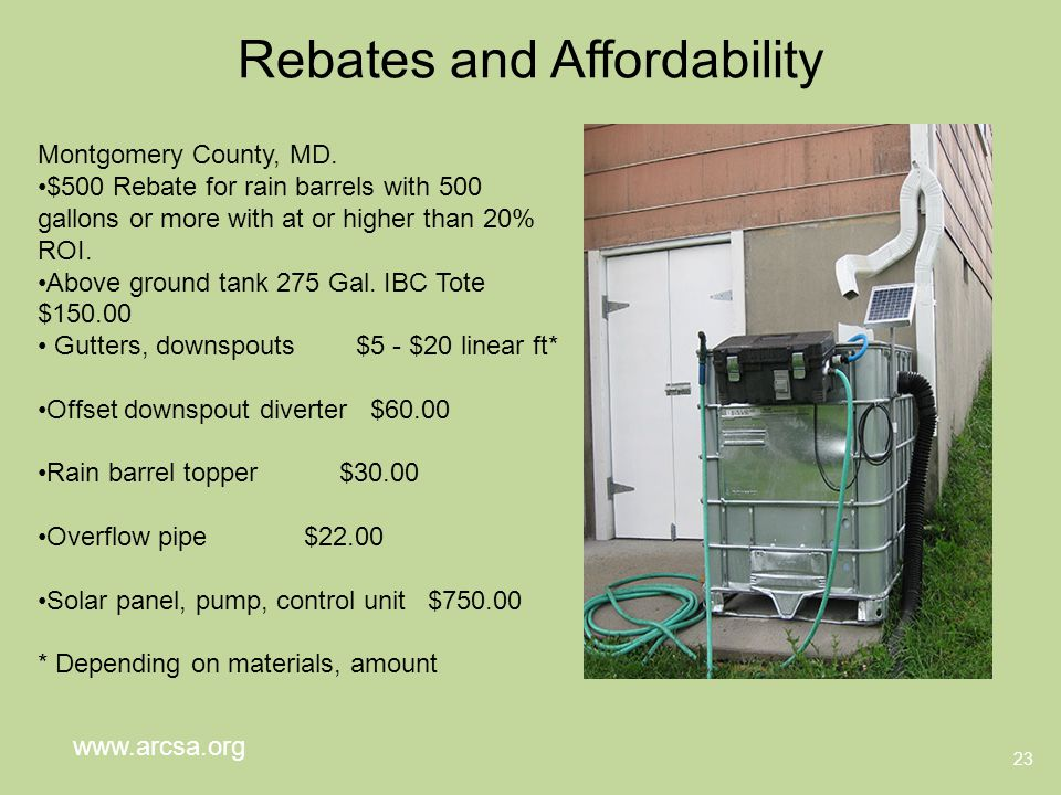 Rebates and Affordability 23 Montgomery County, MD.