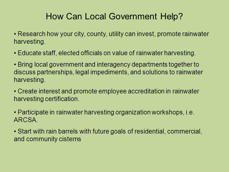 How Can Local Government Help.