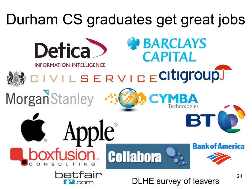 Durham CS graduates get great jobs 24 DLHE survey of leavers