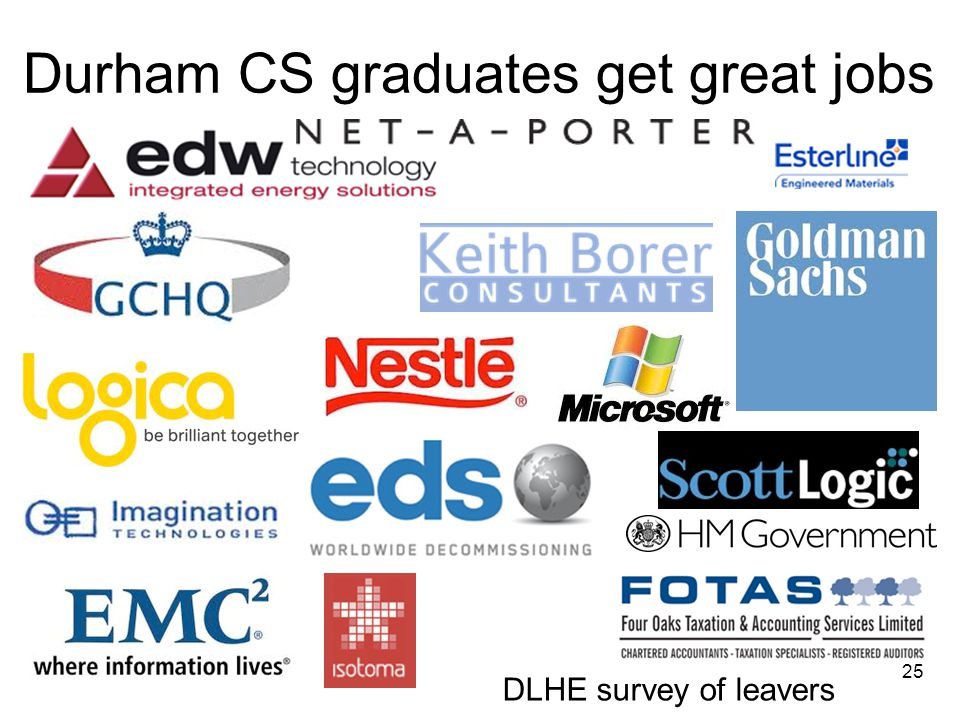Durham CS graduates get great jobs 25 DLHE survey of leavers