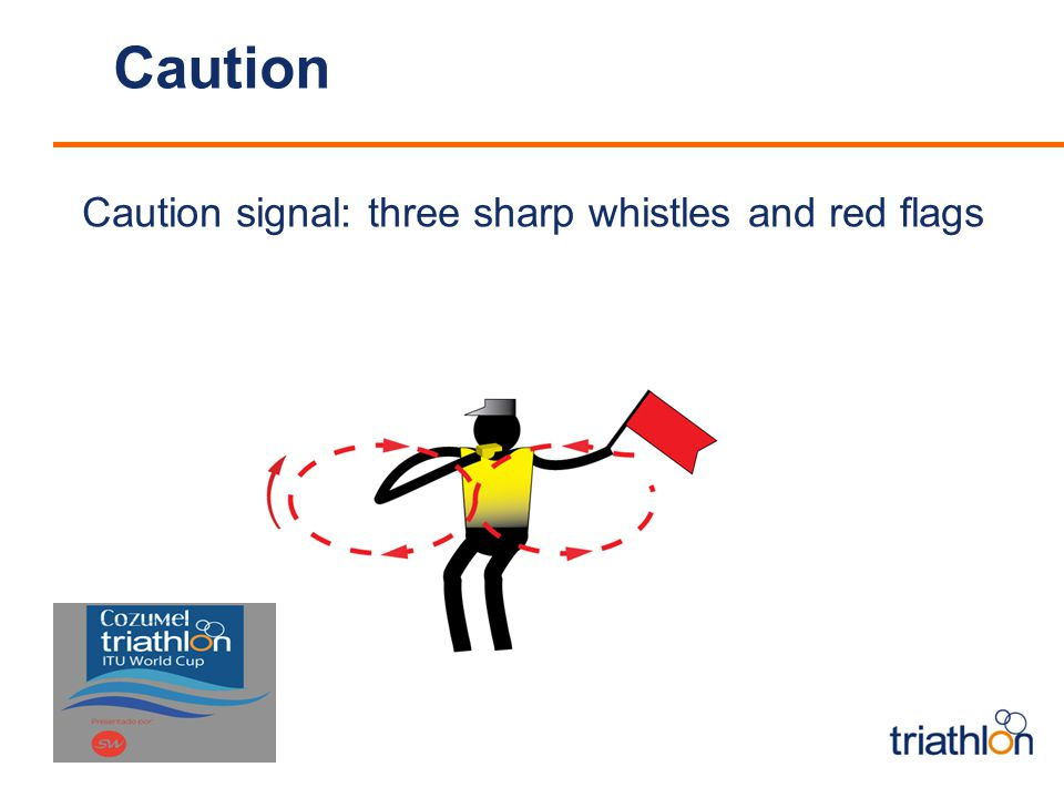 Caution Caution signal: three sharp whistles and red flags