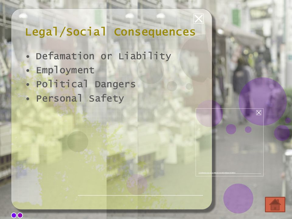 Legal/Social Consequences Defamation or Liability Employment Political Dangers Personal Safety