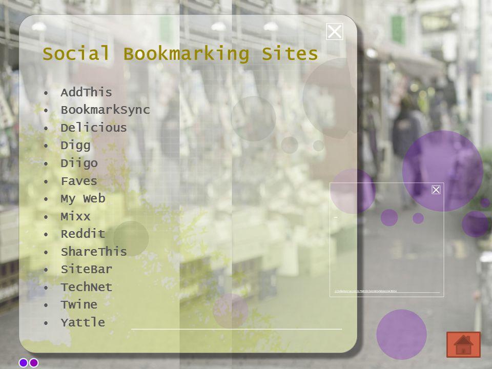 Social Bookmarking Sites AddThis BookmarkSync Delicious Digg Diigo Faves My Web Mixx Reddit ShareThis SiteBar TechNet Twine Yattle
