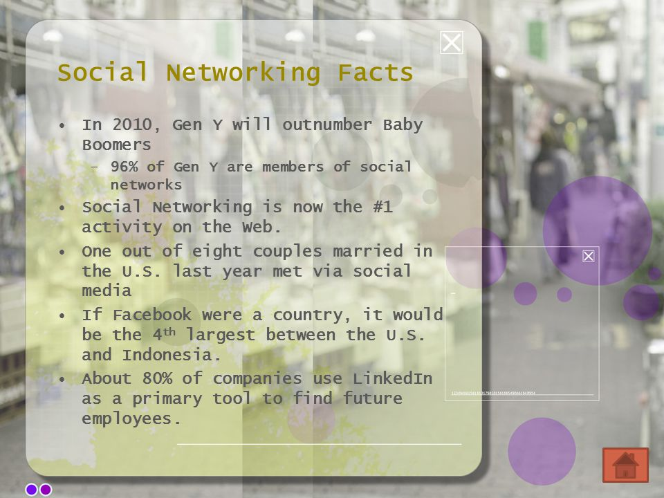 Social Networking Facts In 2010, Gen Y will outnumber Baby Boomers –96% of Gen Y are members of social networks Social Networking is now the #1 activi