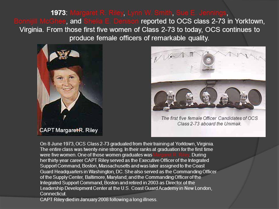 1973: Margaret R.Riley, Lynn W. Smith, Sue E. Jennings, Bonnijill McGhee, and Shelia E.