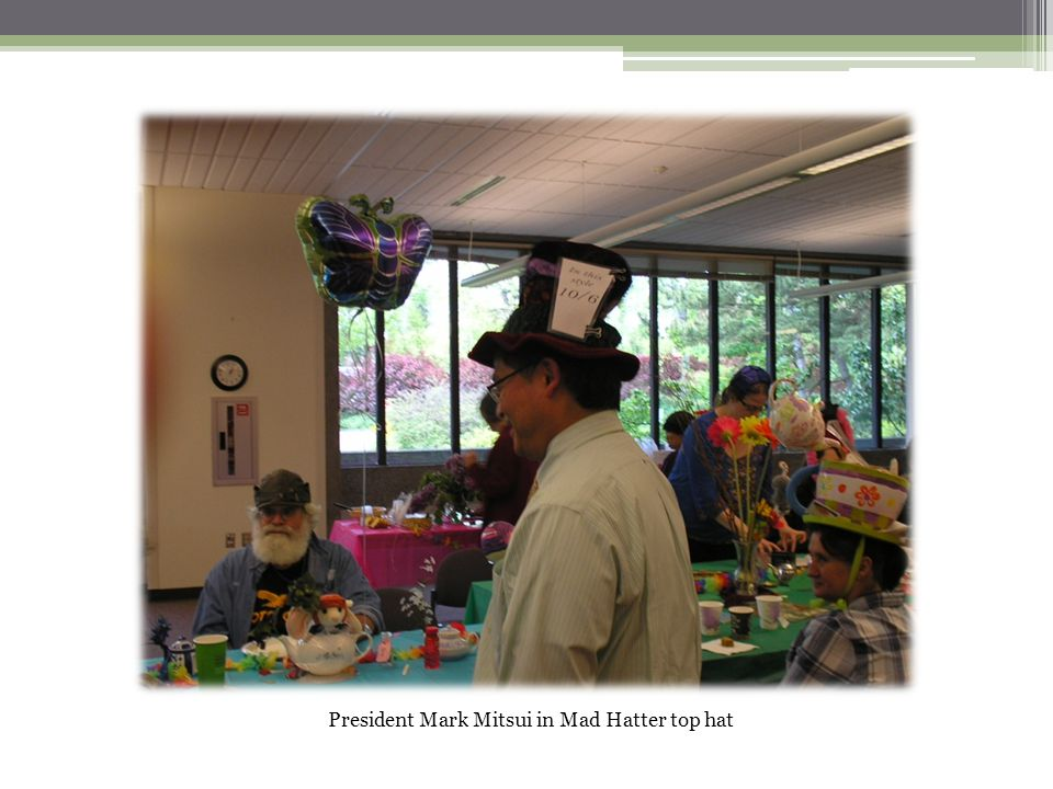 President Mark Mitsui in Mad Hatter top hat