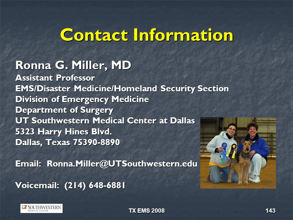 TX EMS 2008143 Contact Information Ronna G.