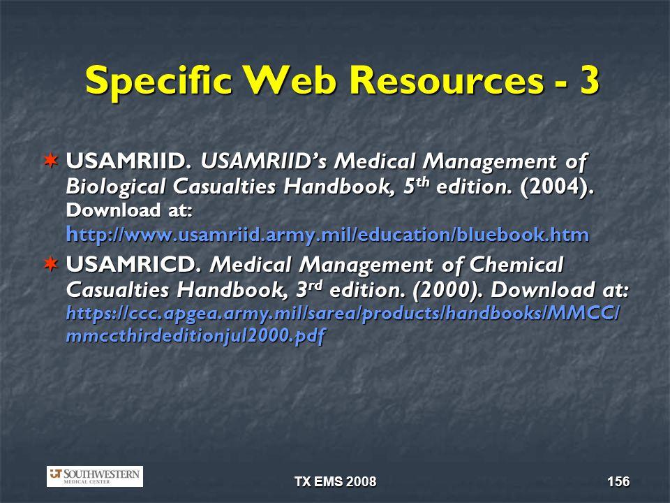 TX EMS 2008156 Specific Web Resources - 3 USAMRIID.