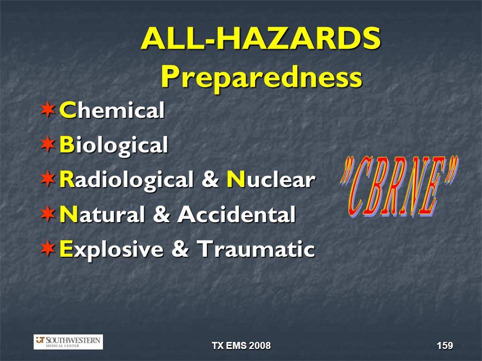 TX EMS 2008159 ALL-HAZARDS Preparedness Chemical Chemical Biological Biological Radiological & Nuclear Radiological & Nuclear Natural & Accidental Nat