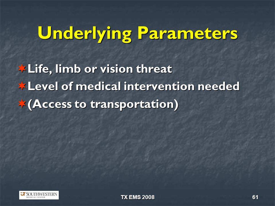 TX EMS 200861 Underlying Parameters Life, limb or vision threat Life, limb or vision threat Level of medical intervention needed Level of medical intervention needed (Access to transportation) (Access to transportation)