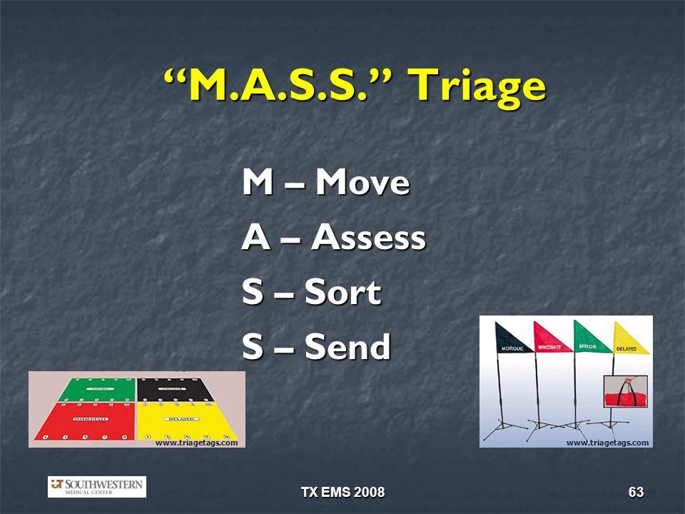 TX EMS 200863 M.A.S.S. Triage M – Move A – Assess S – Sort S – Send www.triagetags.com