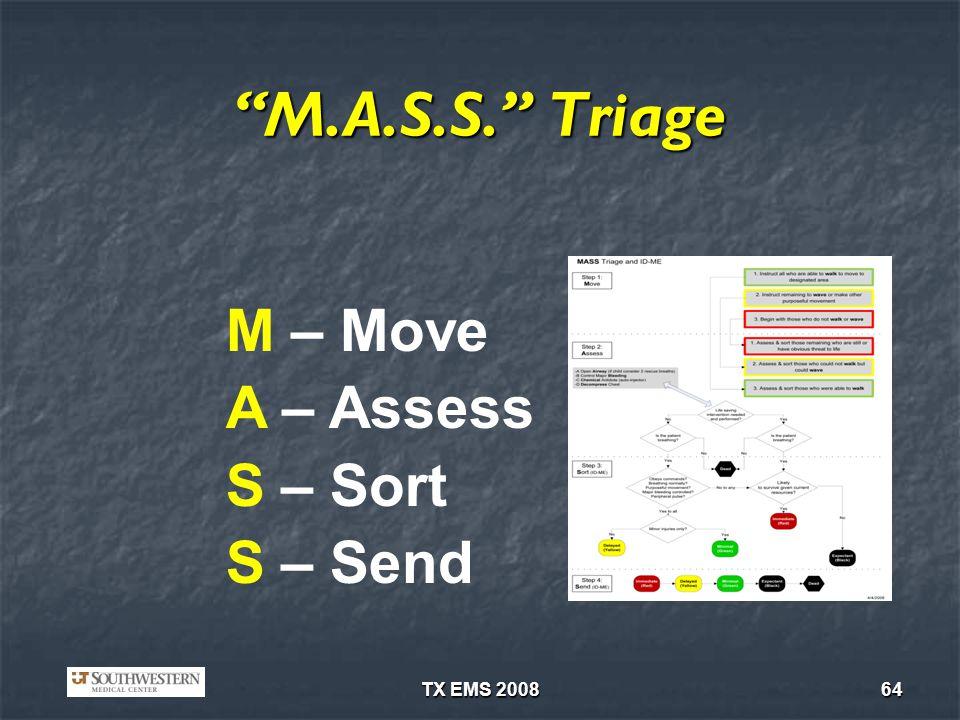 TX EMS 200864 M.A.S.S. Triage M – Move A – Assess S – Sort S – Send