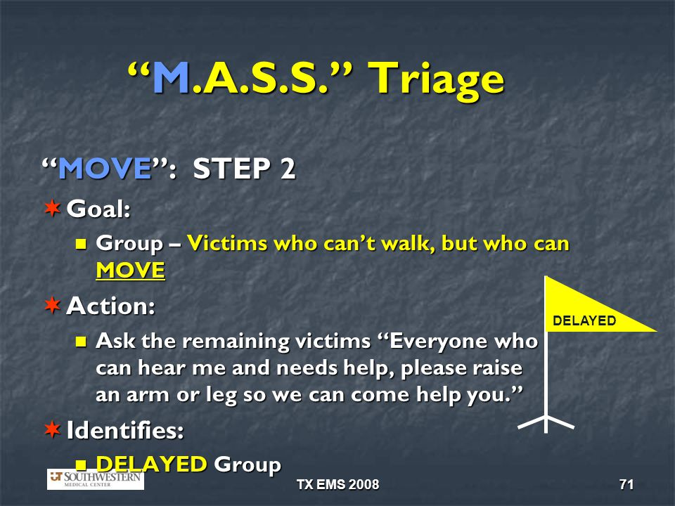 TX EMS 200871 M.A.S.S. TriageM.A.S.S. Triage MOVE: STEP 2MOVE: STEP 2 Goal: Goal: Group – Victims who cant walk, but who can MOVE Group – Victims who