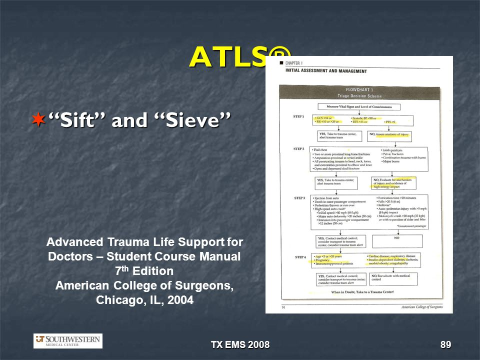 TX EMS 200889 ATLS® Sift and Sieve Sift and Sieve Advanced Trauma Life Support for Doctors – Student Course Manual 7 th Edition American College of Su