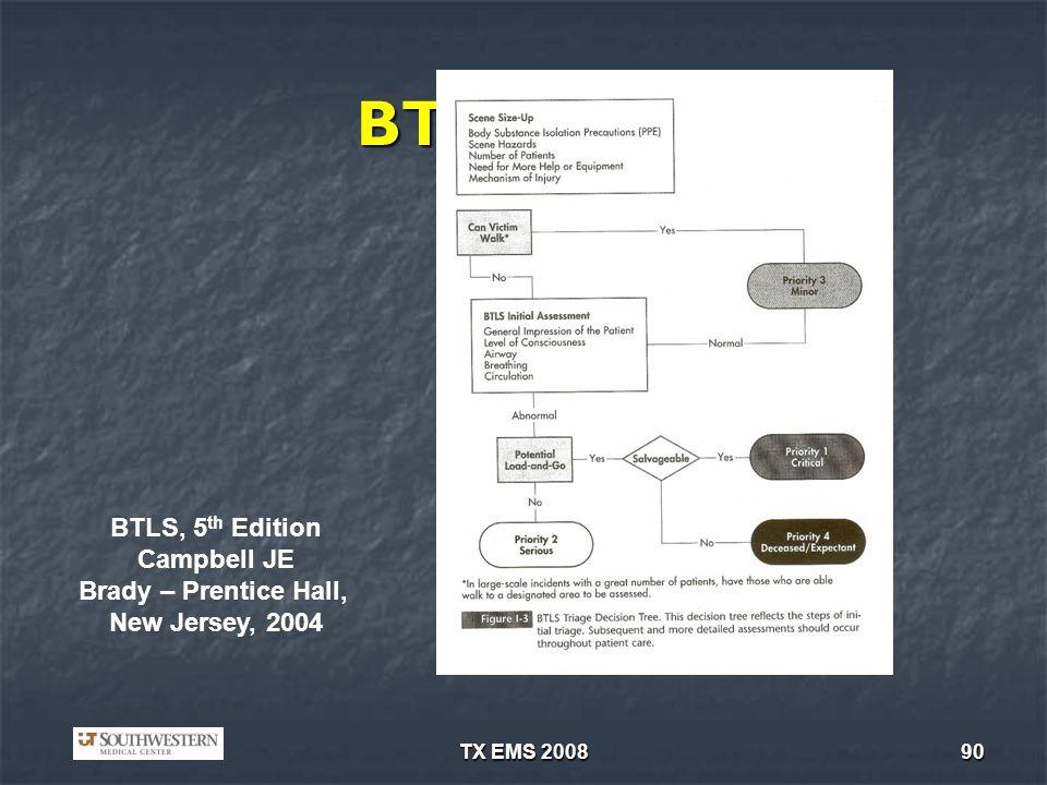 TX EMS 200890 BTLS/ITLS BTLS, 5 th Edition Campbell JE Brady – Prentice Hall, New Jersey, 2004