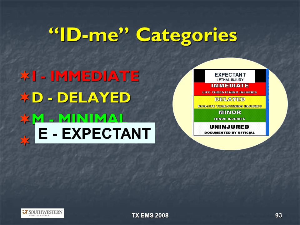 TX EMS 200893 ID-me Categories I - IMMEDIATE I - IMMEDIATE D - DELAYED D - DELAYED M - MINIMAL M - MINIMAL EXPECTANT LETHAL INJURY E - EXPECTANT