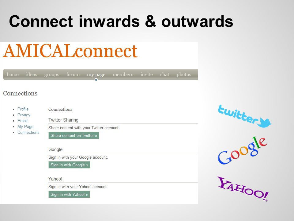 Connect inwards & outwards