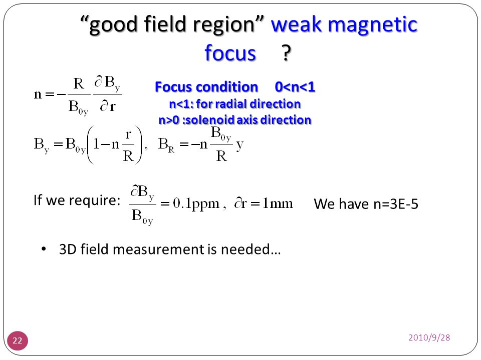 good field region weak magnetic focus ? 2010/9/28 22 Focus condition 0<n<1 n<1: for radial direction n>0 :solenoid axis direction We have n=3E-5 3D fi