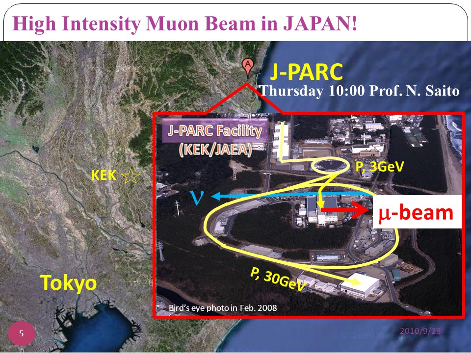 6 Graphite target (20 mm) 3 GeV proton beam ( 333 uA) Surface muon beam (28 MeV/c, 4x10 8 /s) Muonium Production (300 K ~ 25 meV 2.3 keV/c) 2010/9/28 Proton beam (3 GeV, 1MW, 25 Hz) Muon Linac (300 MeV/c) (28 MeV/c) Step1: Ultra-Cold + Source and LINAC Laser (2.3 keV/c)