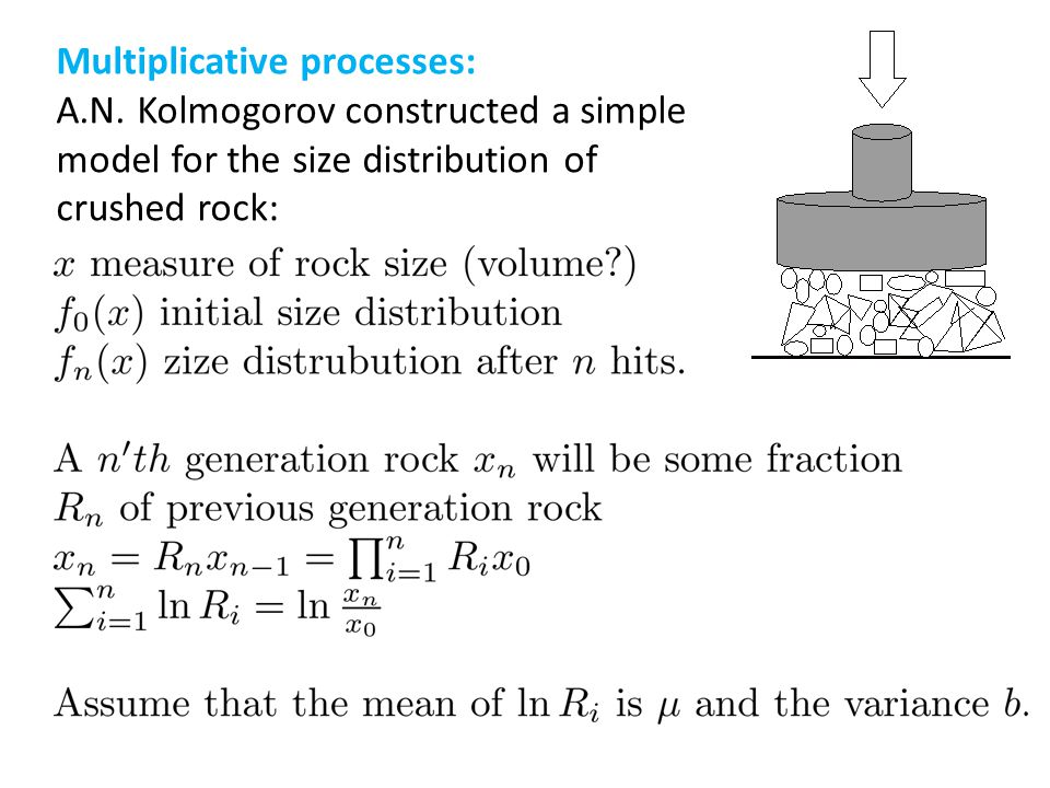 Multiplicative processes: A.N. Kolmogorov constructed a simple model for the size distribution of crushed rock: