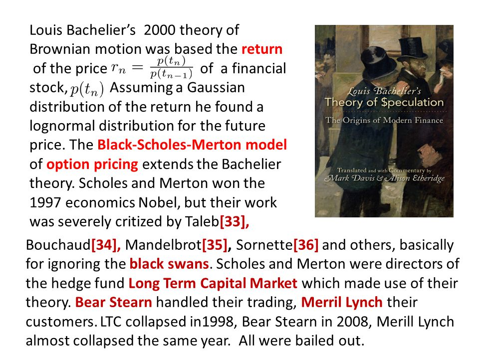 Louis Bacheliers 2000 theory of Brownian motion was based the return of the price of a financial stock, Assuming a Gaussian distribution of the return