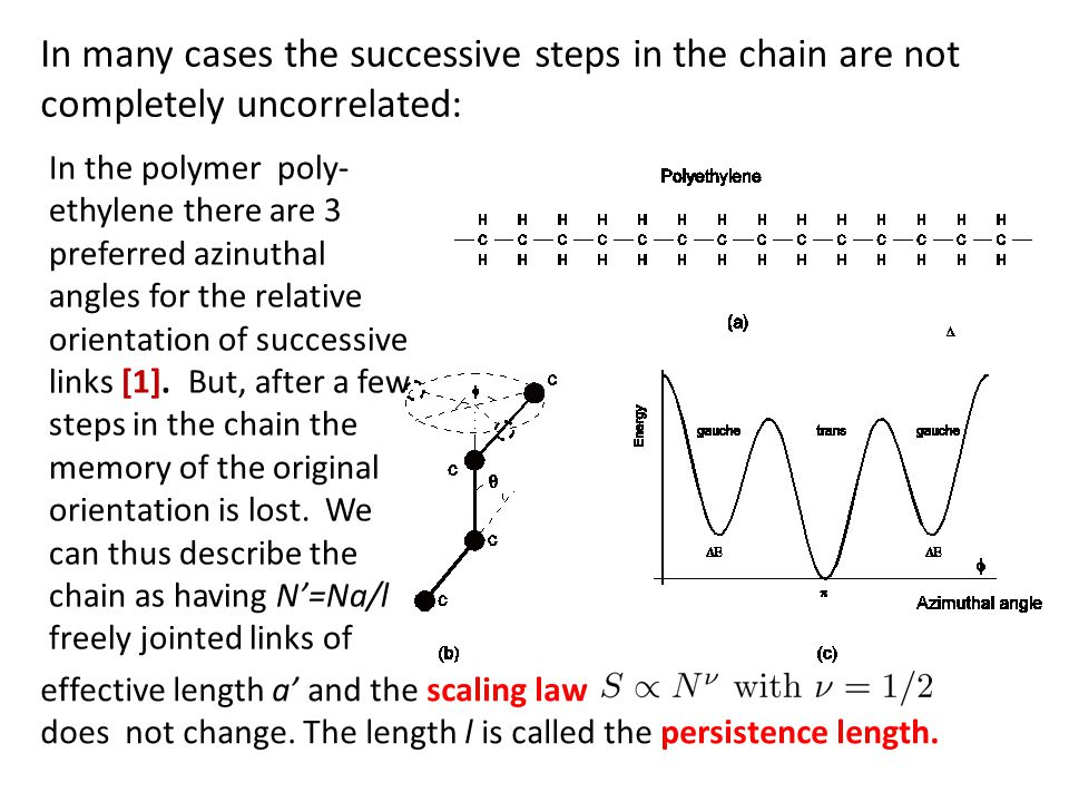 In many cases the successive steps in the chain are not completely uncorrelated: In the polymer poly- ethylene there are 3 preferred azinuthal angles