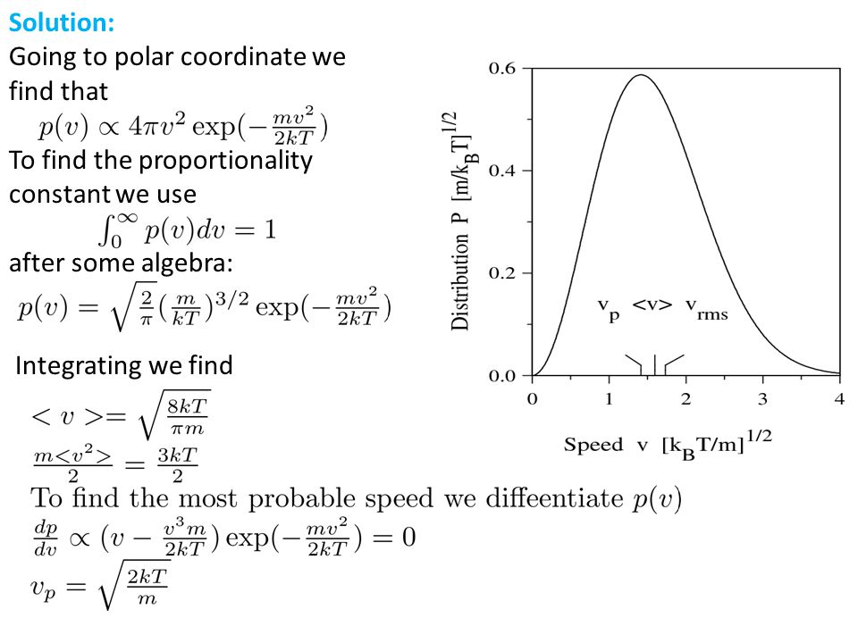 Solution: Going to polar coordinate we find that To find the proportionality constant we use after some algebra: Integrating we find