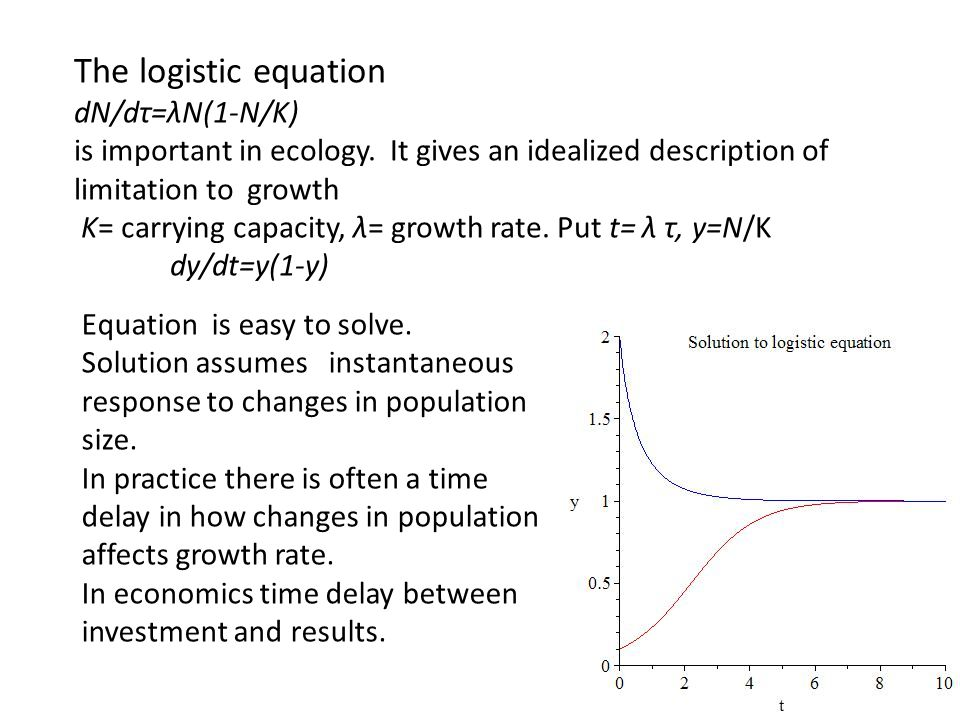 The logistic equation dN/dτ=λN(1-N/K) is important in ecology. It gives an idealized description of limitation to growth K= carrying capacity, λ= grow