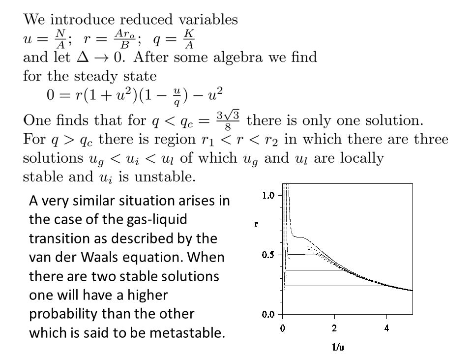 A very similar situation arises in the case of the gas-liquid transition as described by the van der Waals equation. When there are two stable solutio
